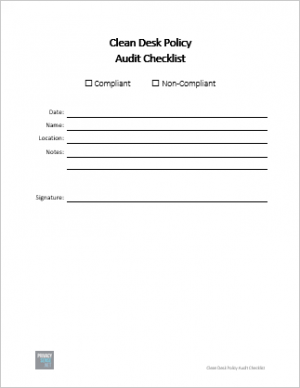 Clean Desk Policy - Audit Checklist